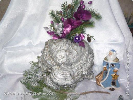 Рада приветствовать всех жителей нашей прекрасной Страны Мастеров! В предверии Нового года это, пожалуй, моя последняя работа. Делала эту композицию для своей любимой невестки. Использовала высушенный гриб- трутовик, высушенные коробочки лотоса и древовидных пионов, иск. зелень. фото 17