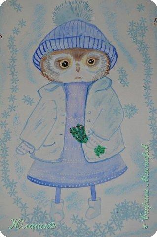 Доброй ночи,мастерицы! Для поздравительного плаката нарисовала совушку. Идея Инги Пальцер http://vk.com/ingapaltserart Использовала в основном акварель, немного гуаши. Фон затонировала пастелью. И наклеила снежинки-вырубки. Очень хотелось,чтобы совушка получилась милой и нежной. фото 1