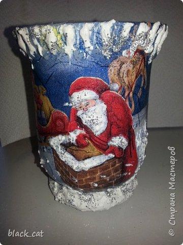 Декор предметов Мастер-класс Новый год Рождество Декупаж Мастер-класс Подсвечник из бокала Салфетки фото 14
