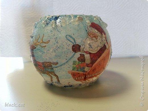 Декор предметов Мастер-класс Новый год Рождество Декупаж Мастер-класс Подсвечник из бокала Салфетки фото 15