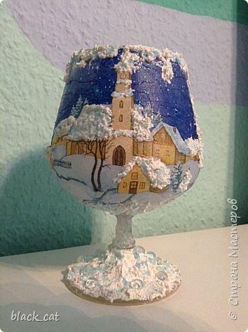 Декор предметов Мастер-класс Новый год Рождество Декупаж Мастер-класс Подсвечник из бокала Салфетки фото 9