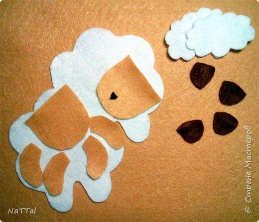 Уважаемые мастера и мастерицы совсем скоро к нам придет замечательный праздник НОВЫЙ ГОД, на синей деревянной «Овце» (Козе). Поэтому я вам предлагаю заранее приготовиться к встрече Нового года и овечку «Долли». Эту овечку я увидела у мастерицы Светланы Канаевой в её блоге http://iskusnitsa-tm.ru/blog/43060279973/Ovechka-iz-drapa?utm_campaign=transit&utm_source=main&utm_medium=page_0&domain=mirtesen.ru&paid=1&pad=1&tmd=1. Решила такую овечку сшить и по пути плучился вот этот небольшой МК.  И так для работы нам понадобиться: Фетр (белый, бежевый, коричневый); Нитки, швейная иголка; Синтепон; Атласная тесьма; Ножницы.  фото 3
