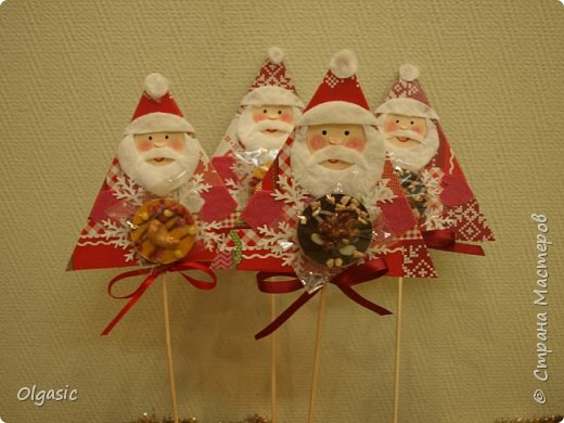 Мастер-класс Поделка изделие Новый год Ассамбляж Дед Мороз на палочке или маленькая конфетка от всего сердца Бумага Диски ватные Картон фото 1