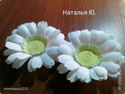 За основу этого цветочка я брала мк герберы Натальи Вознюк http://stranamasterov.ru/user/183288, но в своей ромашке я поменяла серединку и размеры. фото 25