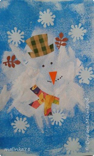 Вот такого снеговика мы нарисовали с детками. фото 7