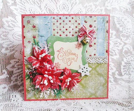 """Добрый день, дорогие мастера и мастерицы! Поздравляю вас с наступившим Новым годом и Рождеством! Мира, счастья, любви и добра! Хочу показать несколько открыток, сделанных к празднику. Цветы в открытках сделаны при помощи ножа """"пуансеттия"""". фото 1"""