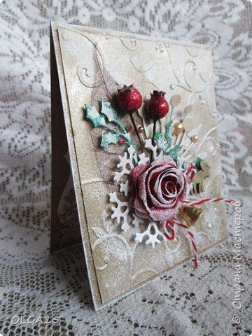 """Добрый день, дорогие мастера и мастерицы! Поздравляю вас с наступившим Новым годом и Рождеством! Мира, счастья, любви и добра! Хочу показать несколько открыток, сделанных к празднику. Цветы в открытках сделаны при помощи ножа """"пуансеттия"""". фото 5"""