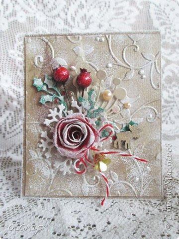 """Добрый день, дорогие мастера и мастерицы! Поздравляю вас с наступившим Новым годом и Рождеством! Мира, счастья, любви и добра! Хочу показать несколько открыток, сделанных к празднику. Цветы в открытках сделаны при помощи ножа """"пуансеттия"""". фото 4"""