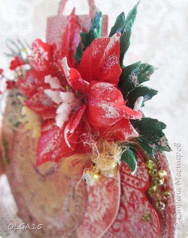 """Добрый день, дорогие мастера и мастерицы! Поздравляю вас с наступившим Новым годом и Рождеством! Мира, счастья, любви и добра! Хочу показать несколько открыток, сделанных к празднику. Цветы в открытках сделаны при помощи ножа """"пуансеттия"""". фото 10"""