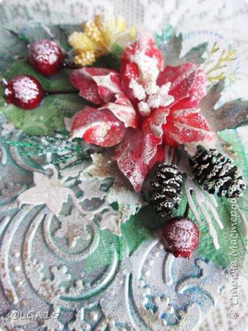 """Добрый день, дорогие мастера и мастерицы! Поздравляю вас с наступившим Новым годом и Рождеством! Мира, счастья, любви и добра! Хочу показать несколько открыток, сделанных к празднику. Цветы в открытках сделаны при помощи ножа """"пуансеттия"""". фото 13"""