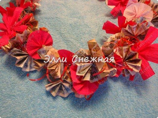 Мастер-класс Поделка изделие День рождения Моделирование конструирование Мыловарение Оригами МК - Гавайский венок из  денег Бумага Ленты Мыло фото 17