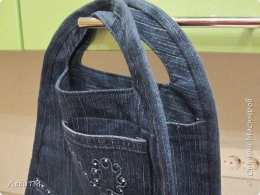 Мастер-класс Моделирование конструирование Джинсовая сумка Нитки Ткань фото 12