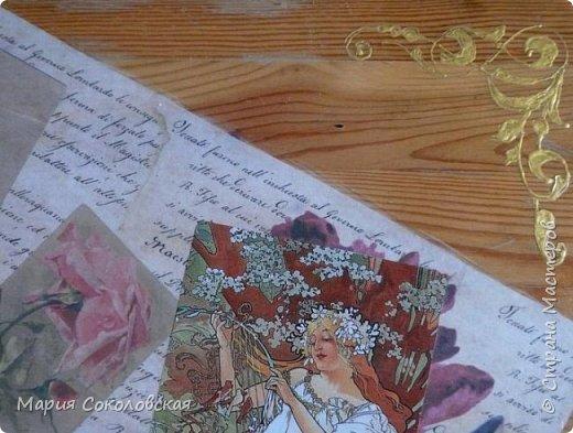 """Столик """"Я Вам пишу..."""" - обычный старенький столик под телевизор. По просьбе  - освежила его. Идея - старые письма, открытки и работы великого художника Альфонса Мухи. Техника: грунтовка, декупаж, роспись по дереву (без трафаретов, от руки), лак. фото 6"""
