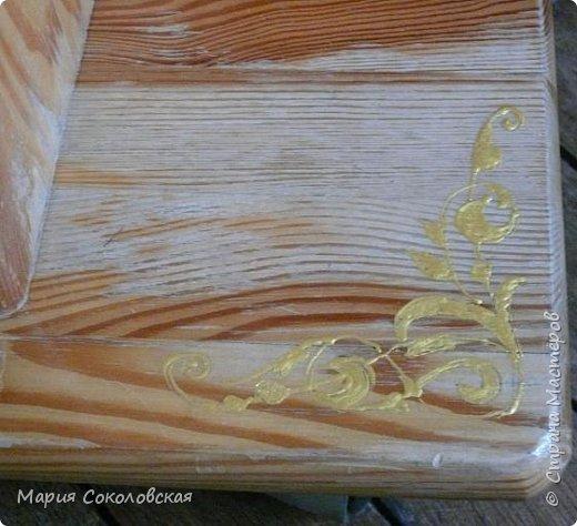 """Столик """"Я Вам пишу..."""" - обычный старенький столик под телевизор. По просьбе  - освежила его. Идея - старые письма, открытки и работы великого художника Альфонса Мухи. Техника: грунтовка, декупаж, роспись по дереву (без трафаретов, от руки), лак. фото 9"""