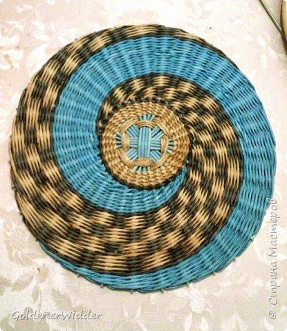 Картина панно рисунок Плетение Панно 40 см Спиральное плетение + Мастер-класс Бумага газетная Трубочки бумажные фото 1