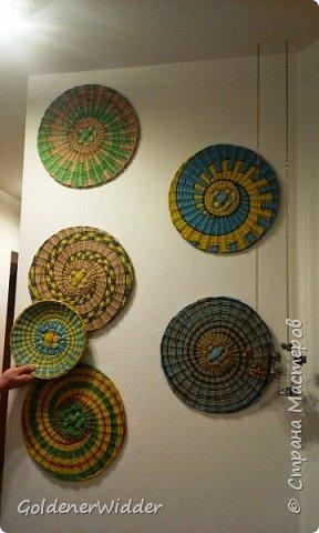 Картина панно рисунок Плетение Панно 40 см Спиральное плетение + Мастер-класс Бумага газетная Трубочки бумажные фото 34
