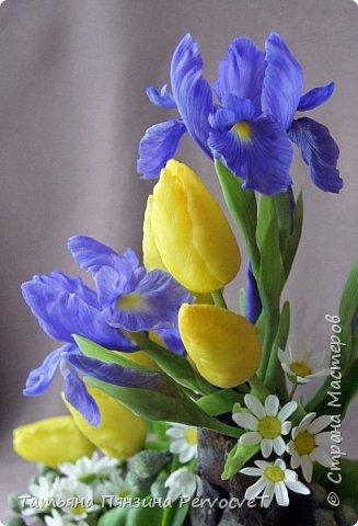 ... Изысканно- волшебные цветы Небесно - голубым огнем в саду пылают. Их нежные воздушные черты Изяществом своим поэтов вдохновляют.  Их листья - словно лезвия меча, Сражают строгостью и совершенством линий. И я стою, взволнованно шепча, Стихи об ирисе среди гвоздик и цинний.  Ты, ирис, - рыцарь голубых кровей, Стоишь один средь лезвий безмятежно, Храня в душе огонь любви своей, Любви таинственной и бесконечно-нежной ...  Ирис, выполнен из флористической полимерной глины, с многоцветной тонировкой. фото 4