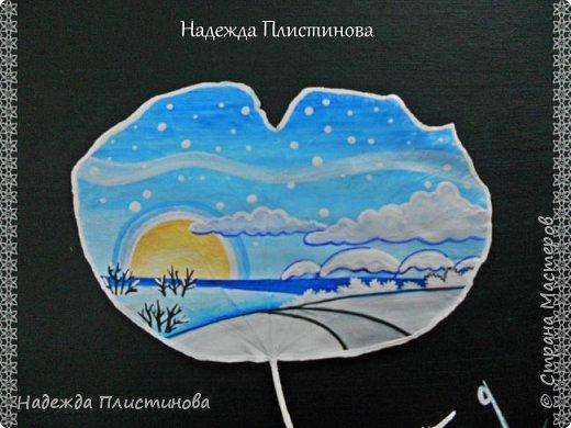 """Лист ПЛЮЩА интерьерный """"Бирюзовые оттенки зимы"""" фото 3"""