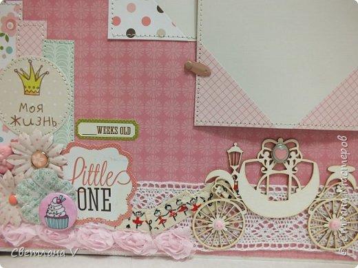 Альбом для маленькой принцессы размером 25*25, обложка обтянута хлопком, украшена кружевом, чипбордом в виде замка, топсом с бантом и пуговкой. Завязывается на ленту: фото 23