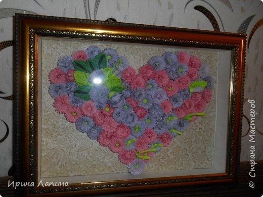 Приветствую  Всех! Сердце  из  пушистых  цветов. Формат  панно  А4, под  стеклом, рамочка  углублённая. фото 1