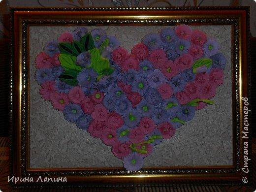 Приветствую  Всех! Сердце  из  пушистых  цветов. Формат  панно  А4, под  стеклом, рамочка  углублённая. фото 2