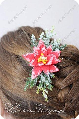 Доброго времени суток, уважаемые соседи! Спешу поздравить вас с наступившими праздниками, пожелать и в новом году находить вдохновение, воплощать задуманное и радоваться жизни! Хочется показать некоторые из моих работ на зимнюю тему. В качестве модели - моя дочь. Начну с большого зажима с розой и хвоей. Роза в диаметре 9 см. Заколка припорошена искусственным снегом. фото 3