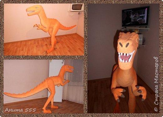 Моя новая поделка - хищный динозавр. Сделала его из монтажной пены и цемента. Ему дали имя Денвер))