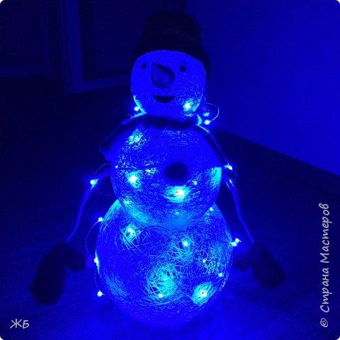 Снеговик из ниток фото 3