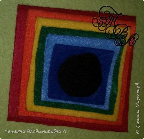 Добрый день! Сегодня мы будем делать пирамидку из фетра.  Вам понадобится фетр тех цветов, из которых вы хотите сделать пирамидку. Количество цветов может быть любым. фото 5