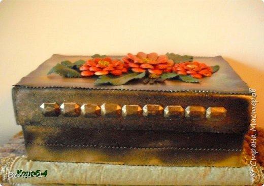 Декор предметов Поделка изделие Коробчонка для украшений Картон Кожа фото 4