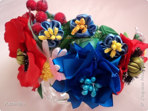 Создала украинский веночек по мотивам мастер-класса Алины Балобан. Спасибо ей огромное. фото 5