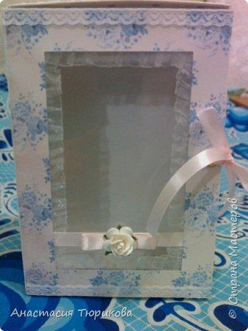 Всем привет! Представляю на Ваш суд вот такую чудо-коробочку! Это первая моя работа в свадебной тематике) Коробочка с окошечком, завязывается на ленточки)  фото 1