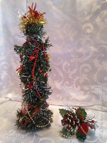 Дорогие Мастера и Мастерицы! Хочу поздравить вас с наступающим Старым Новым годом!!!! Старый Новый Год, как чудо,  Что приходит ни откуда  И уходит навсегда,  Непонятно нам куда.  Легкой поступью морозной  Он покрыл березы, сосны  И велит себя опять  Ровно в полночь нам встречать.  Дорогие гости наши,  Мы желаем вам добра,  И здоровья, и достатка,  И французского вина.  Старый Новый Год пусть будет  Лучше всех прошедших лет.  Дети пусть приносят радость,  А в любви – опять рассвет. (Ольга Теплякова). Новый год как известно не может быть без подарков, поэтому представляю Вам подарочные бутылочки - елочки 2015 года.   фото 5