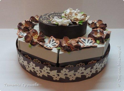 """Ну вот и еще один тортик, на этот раз """"шоколадный"""", с сюрпризами и пожеланиями. Его я сделала в подарок подруге ко дню рождения. Обычно в каждый кусочек такого тортика кладут по небольшому """"сюрпризу"""" с пожеланием, но поскольку тортик сделан был для подруги и пожеланий было много, то положила в него столько пожеланий, сколько уместилось :))) фото 2"""
