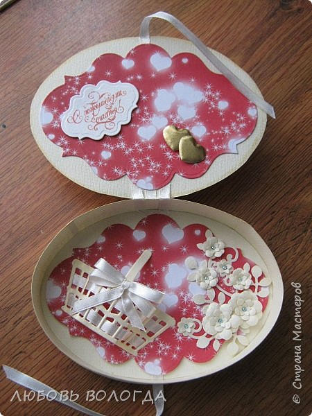 Заказали конвертик для денежки в подарок на свадьбу, а я решила сделать коробочку))) фото 3