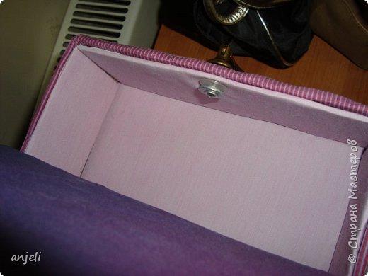 """Результат. Вдохновил на подвиг комодик """"Весна в Париже""""! Мне очень нравится! Для изготовления понадобились: коробка, картон, ткань (старые рубашки 3 шт), ленты, шнур, нитки, клей пва, клеевой пистолет, термо-аппликации, картиночка, остатки тесемки, фурнитура. фото 11"""