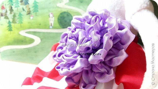 Видео Мастер-класс Украшение 8 марта Начало учебного года Цумами Канзаши МК Пышный лавандовый цветок  Клей Ленты Фетр фото 1