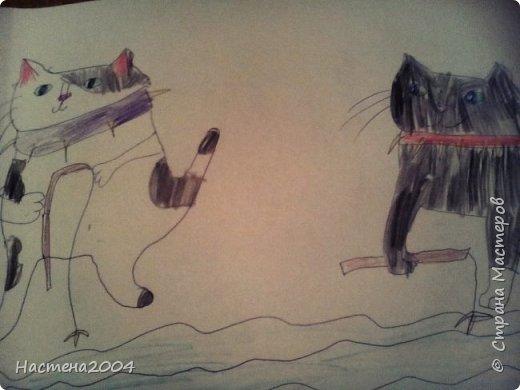 """Коты -воители. Бич и Костяк: """"А у Речного племени нет таких штучек как у нас..."""" Все рисунки выполнены фломастерами и карандашами. фото 1"""