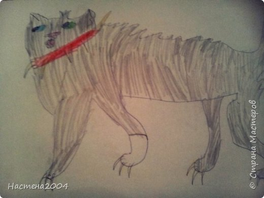 """Коты -воители. Бич и Костяк: """"А у Речного племени нет таких штучек как у нас..."""" Все рисунки выполнены фломастерами и карандашами. фото 13"""