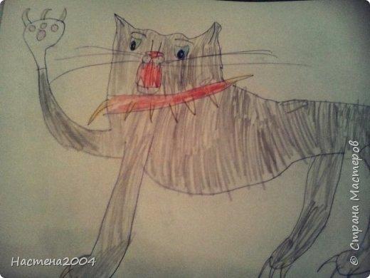 """Коты -воители. Бич и Костяк: """"А у Речного племени нет таких штучек как у нас..."""" Все рисунки выполнены фломастерами и карандашами. фото 24"""