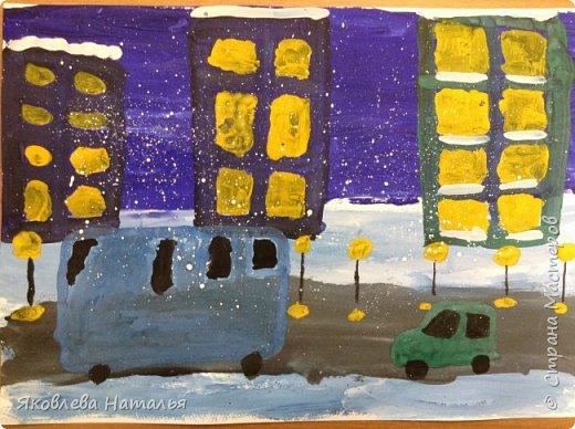"""Я являюсь поклонницей творчества и педагогического опыта Галены из Страны Мастеров. Так случилось, что я тоже работаю с детьми дошкольного возраста и ее педагогический опыт считаю для себя бесценной находкой. Пользуясь ее материалами, опробирую в своей практике. Могу сказать, что дети в полном восторге и я вместе с ними получаю удовольствие от процесса выполнения и полученных результатов! Хочу поделиться результатами нашего творчества. Это две работы, которые мы выполнили совсем недавно. Другие, к сожалению, не сфотографировав, раздала детям. В следующий раз так делать не стану. Если кому-то будет интересно, постараюсь выкладывать в дальнейшем.   """"Ночной город"""" фото 6"""