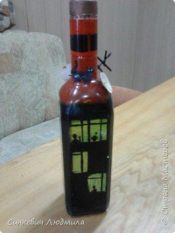 """бутылка """"Цветочек"""" декорирована яичной скорлупой и льняной нитью фото 2"""