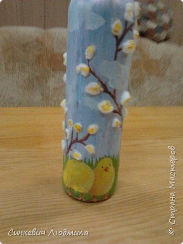 """бутылка """"Цветочек"""" декорирована яичной скорлупой и льняной нитью фото 7"""