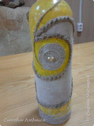 """бутылка """"Цветочек"""" декорирована яичной скорлупой и льняной нитью фото 6"""
