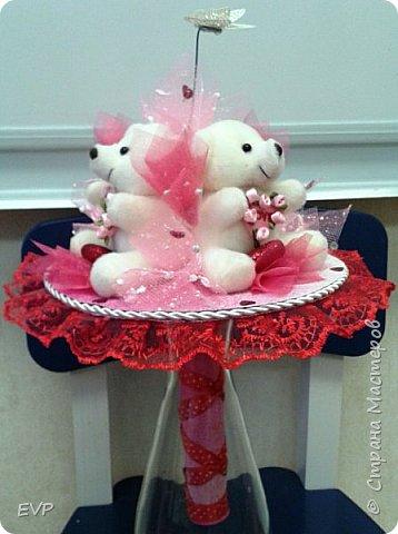 Букет на день рождения. Просто мишки, конфеты добавлять не стала. фото 2