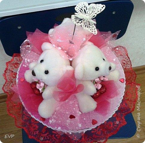 Букет на день рождения. Просто мишки, конфеты добавлять не стала. фото 3