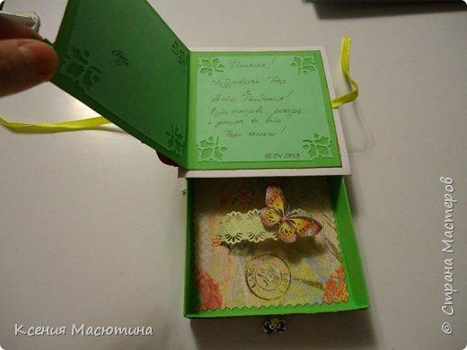 """Коробочка 11х11 см, картон, ватман, дизайнерская бумага, готовые цветы, лента, стразы, подвеска """"Сердечки"""" фото 13"""