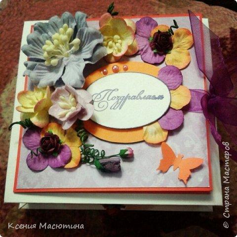 """Коробочка 11х11 см, картон, ватман, дизайнерская бумага, готовые цветы, лента, стразы, подвеска """"Сердечки"""" фото 10"""