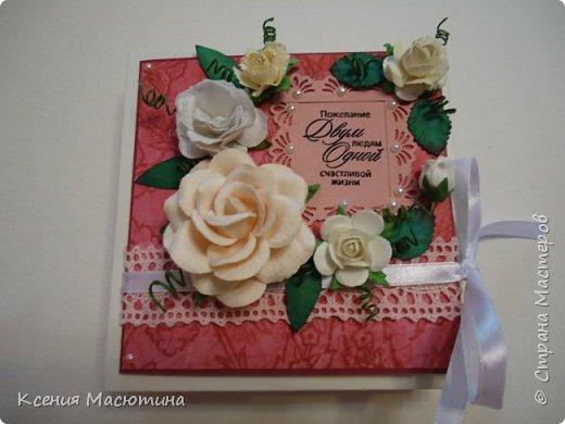 """Коробочка 11х11 см, картон, ватман, дизайнерская бумага, готовые цветы, лента, стразы, подвеска """"Сердечки"""" фото 2"""