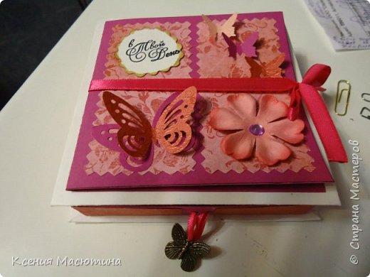 """Коробочка 11х11 см, картон, ватман, дизайнерская бумага, готовые цветы, лента, стразы, подвеска """"Сердечки"""" фото 14"""